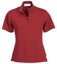 LADIES' CROSS RIDGE JACQUARD SHORT SLEEVE HALF ZIP MOCK NECK  - Click for Details!
